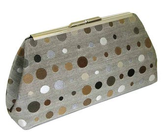 SOPHISTICATED DOTS - NEW Modern Clutch - Gorgeous Taupe - Black Silk Lining