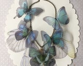 I Will Fly Away - Handmade Blue, Teal and Pale Green Silk Organza Butterflies and Wings Necklace - One of a Kind