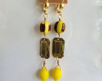 50%OFF Yellow Lemon Earrings, Citrus Dangles, Beaded Earrings, Summer Earrings Under 10