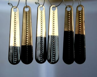 Asymmetrical Long Brass Earrings,  Black Patina  Sterling Silver Hoops, Boho, Bohemian