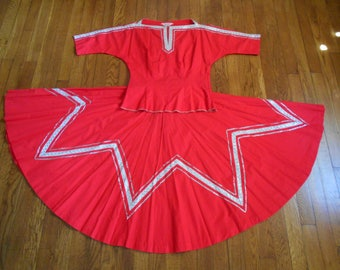 Vintage 50's Red Full Circle Skirt with Matching Blouse by Pom Pom Fashions XS or Junior