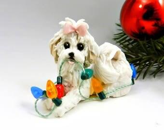 Coton de Tulear Christmas Ornament Figurine Lights Porcelain