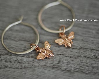 Honeybee Bumble Bee Hoop Earrings - Tiny 18k Rose Gold Plated Sterling Silver Auspicious Feng Shui Charms - Insurance Included
