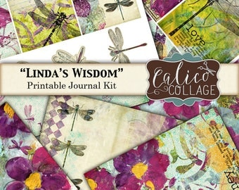 Printable, Journal Kit, Linda's Wisdom, Ephemera Pack, Junk Journal Kit, Dragonfly Journal, Digital Paper, Journal Pages, Calico Collage
