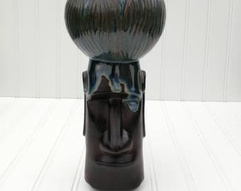 Magical Moai Coconut Chalice Tiki Mug - Midnight - Easter Island Chief's Cup
