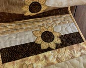 Quilted Table Runner . . . Applique SUNFLOWERS . . . Golden Yellow and  rown . . . Mid Summer Blooms