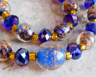 Iridescent Glass Lampwork Bead Necklace in Glitter-Blue, Gold, and Faceted Cobalt Blue - Art Glass Beaded Necklace - Aurora Borealis Finish