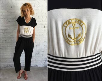 vintage 80s jumpsuit / 1980s black and white jumpsuit with nautical gold Yacht Club embroidery