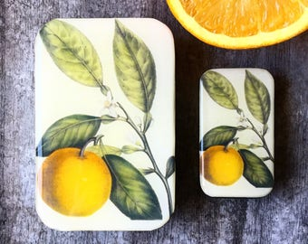 Orange tin SMALL,  botanical notions tin treasure box, jewellery box, pill box