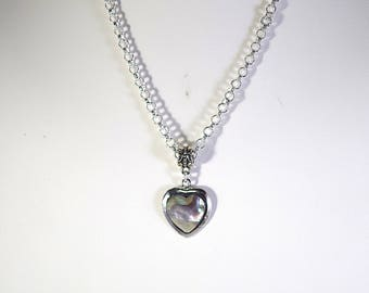 Abalone (Paua) Shell Heart Necklace in Silver