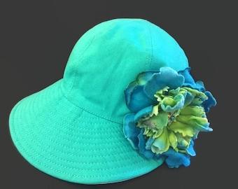 "Women's Baseball Cap, Beach Hat, Sun Cap, Golf Visor Hat, Visor Ball Cap in Turquoise and White Cotton Twill - ""Sweet 'n Simple"""