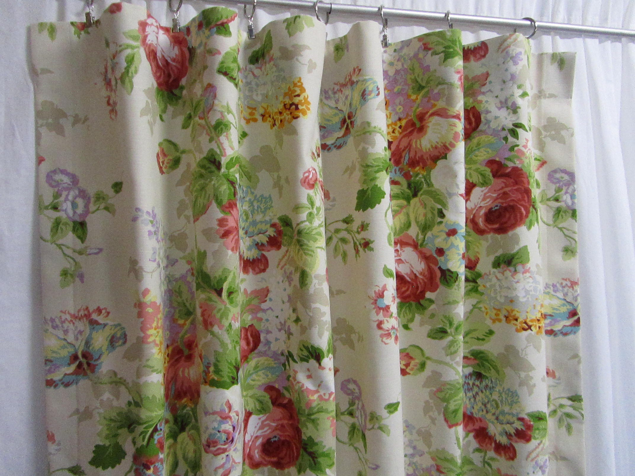 Shabby chic curtains cottage style decor custom rod pocket - Shabby chic curtain poles ...