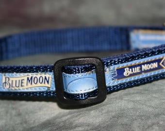 Adjustable Cat or Toy Dog Collar from Recycled Blue Moon Belgian White Beer Labels