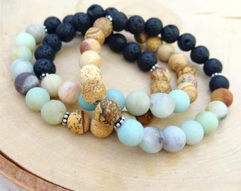 Unisex aromatherapy essential oil diffuser stretch bracelet, amazonite lava rock jasper beaded extract oils bracelet for men or women otis b
