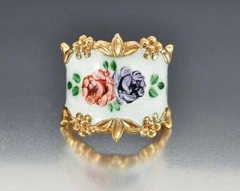 Vintage Guilloche Enamel Cigar Band Ring, Gold Sterling Silver Vargas Ring, Rose Flower Ring