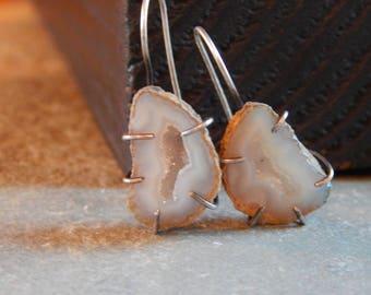 handmade geode and sterling silver earrings