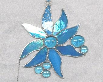 suncatcher, star, glass art, art and collectibles, window decor, housewarming gift, yard and garden art,ornament, celestial dreams turquoise