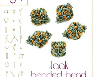 Beading tutorial / pattern Jaak beaded bead with crescent beads. Beading instruction in PDF – for personal use only