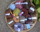 45% off yarn lot, worsted dk bulky sock yarn destash, about 1,400 yards, 14 skeins, blue purple pink brown cotton wool Life's an Expedition