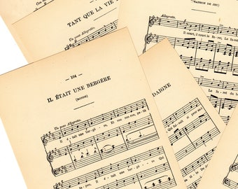 Vintage French Music with Lyrics Pages From 1894 French Book