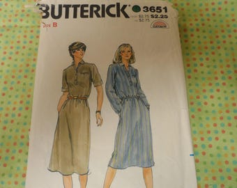 Butterick 3651 Misses Dress Pattern Vintage Size 8