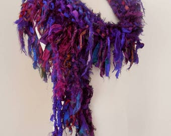 sale recycled silk scarf, hand knitted scarf, boho tattered rag scarf, deep purple scarf