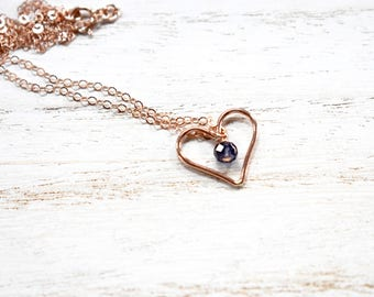 rose gold filled heart silhouette pendant & gemstone necklace. heart shape charm and chain necklace.  gemstone and heart pendant necklace