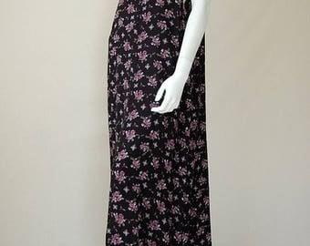SALE 25% off sundays Vintage 90s Black Floral Print Draped Grunge Boho Deep Armholes Jumper Maxi Dress  (one size)