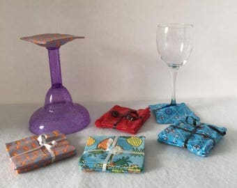 Wine Glass Coasters - Set of 4 - Choose your fabric