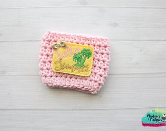 Palm Tree Coffee Cup Cozy { Hello Summer }  pink yellow beach accessories, summer,  starbucks addict, water bottle, crochet