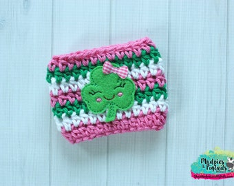 St Patricks Day Coffee Cup Cozy { Happy Clover } green, pink, pot of gold, Irish, crochet mug sweater starbucks, water bottle, crochet