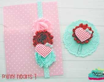 Valentines day Planner band { Minty Hearts } candy box, love glitter, red mint pink planner girl, bible journaling band, baby headband