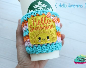 Spring Crochet Coffee Sleeve { Hello Sunshine } kawaii sun, blue yellow spring cup cozy, knit mug sweater, coffee mug, frappuccino holder