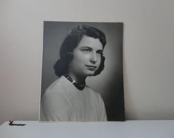VINTAGE 1950s black and white woman's PORTRAIT photo - unframed - 14 x 17