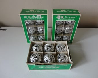 VINTAGE 1960s silver plastic FILIGREE ORNAMENTS - 3 sets of six - in original boxes