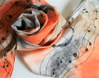 Hand Painted Silk Scarf - Handpainted Scarves Musical Music Notes Treble Clef Orange Gray Grey Silver Tan Taupe Beige Piano
