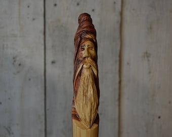 Cedar Staff, Wood Spirit Wizard Walking Stick Carving - LOTR Staff - Hand Carved Wood Spirit Hiking Stick,#1704
