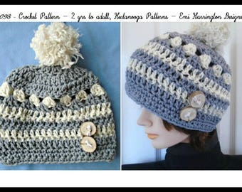 CROCHET HAT PATTERN, Sterling Hat,  2 yrs to adult, women, children, toddlers, teens, #2098
