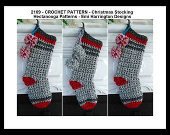 crochet pattern, Christmas stocking, Gray and red stocking, unisex stocking, Christmas sock, hanging stocking, #2109, 2 hour project