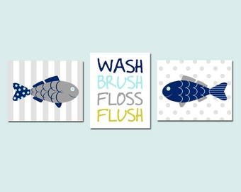 Fish Bathroom Decor Fish Bathroom Art Fish Wall Art Kids Bathroom Decor Kids Bathroom Art Wash Brush Floss Flush Bathroom Sign Set of 3