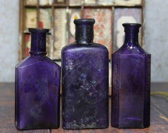 PURPLE Bottles-Iridescent RAINBOW Colors-Distilling Bottle- Amethyst Glass Medicine Bottle- Collectible Bottles- R22