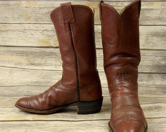 Vintage Hyer Cowboy Boots Mens Size 9.5 B Narrow Brown Rockabilly Western Country