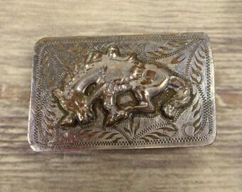 Distressed Horse Belt Buckle Western Cowboy Cowgirl Silver Country Rockabilly