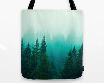 Foggy Forest Tote Bag, Ombre Trees, Samish Woods, Washington gifts, bluegreen ombre, coastal rainforest art, northwest landscape
