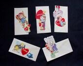SALE (5) Die Cut 1950's VALENTINES Kids Sweethearts Unused (7) Unused Envelopes REPURPOSE Scrapbooking Embellishments Crafts Cards (MR5)