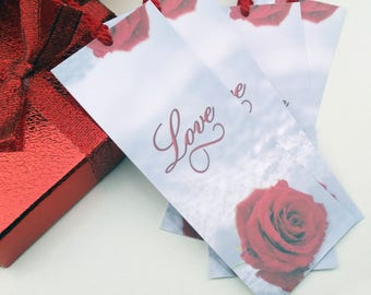 Love Bookmark Set of 8 - Rose Bookmark - Valentine Bookmark - Winter Wedding Favors - Handmade Bookmark Favors - Bookmarks with Tassel