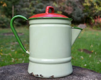 Vintage Green and Red Enamel Coffee Pot
