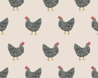 Plymouth Rock Chicken Fabric - Plymouth Rock Chicken Breed Farm Sanctuary By Petfriendly - Cotton Fabric by the Yard With Spoonflower