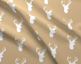 White Deer on Tan Fabric - Deer Heads On Tan By Modfox - Neutral Woodland Nursery Decor Cotton Fabric By The Yard With Spoonflower