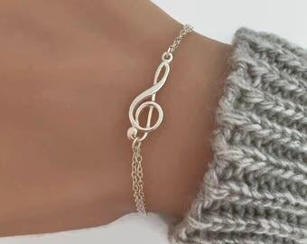 Adjustable Treble Clef Bracelet in Sterling Silver - Double Chain Treble Clef Bracelet